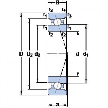 85 mm x 130 mm x 22 mm  SKF 7017 ACB/P4A angular contact ball bearings